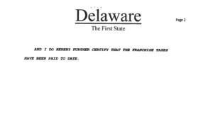 Delaware certificate