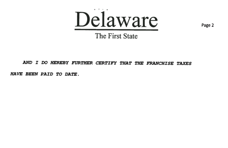 Certificate Of Good Standing Delaware Company Formation