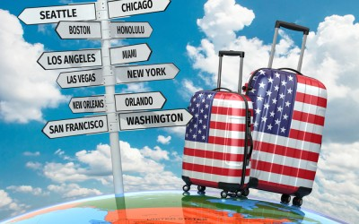 luggage and map of USA