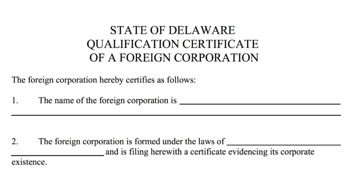 Foreign corporation paperwork