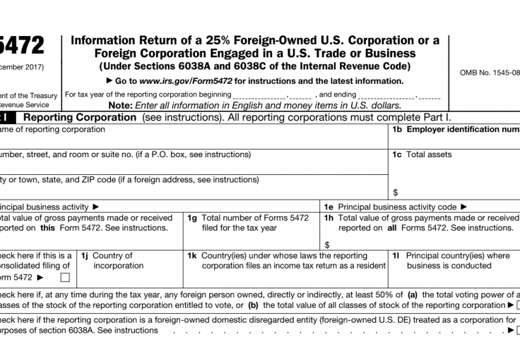 How to file 5472 Form as Foreign US Company Owner